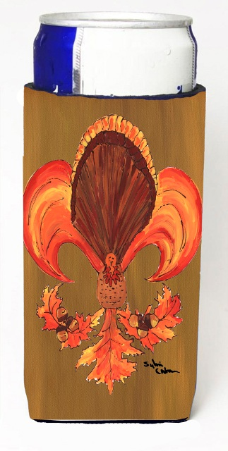 Carolines Treasures 8184MUK Thanksgiving Turkey And Fall Leaves Fleur De Lis Michelob Ultra s For Slim Cans - 12 oz.