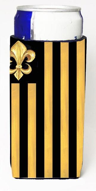 Carolines Treasures 8198MUK Black Gold Fleur De Lis Nation Michelob Ultra s For Slim Cans - 12 oz.