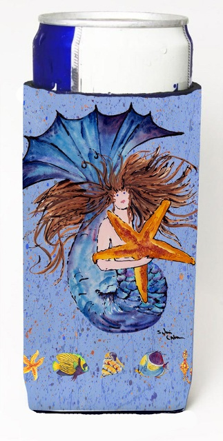 Carolines Treasures 8337MUK Brown Headed Mermaid On Blue Michelob Ultra s For Slim Cans - 12 oz.