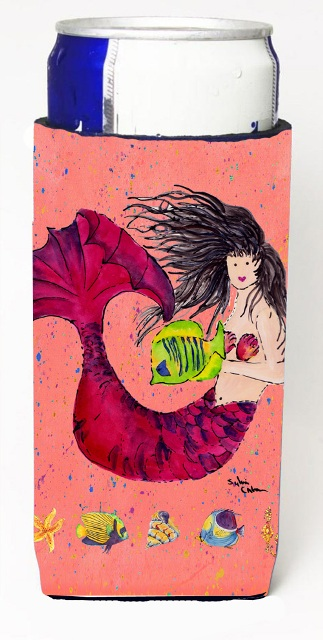Carolines Treasures 8338MUK Black Haired Mermaid On Red Michelob Ultra s For Slim Cans - 12 oz.
