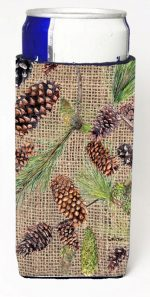 Carolines Treasures 8735MUK Pine Cones On Faux Burlap Michelob Ultra bottle sleeves For Slim Cans - 12 oz.