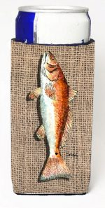 Carolines Treasures 8736MUK Fish Red Fish On Faux Burlap Michelob Ultra bottle sleeves For Slim Cans - 12 oz.