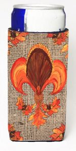 Carolines Treasures 8744MUK Thanksgiving Turkey Fleur De Lis On Faux Burlap Michelob Ultra bottle sleeves For Slim Cans - 12 oz.