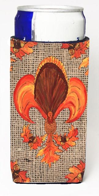 Carolines Treasures 8744MUK Thanksgiving Turkey Fleur De Lis On Faux Burlap Michelob Ultra bottle sleeves For Slim Cans - 12 oz.