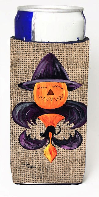 Carolines Treasures 8748MUK Halloween Pumpkin And Bat Fleur De Lis On Faux Burlap Michelob Ultra bottle sleeves For Slim Cans - 12 oz.