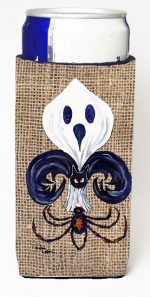 Carolines Treasures 8749MUK Halloween Ghost Bat And Spider Fleur De Lis On Faux Burlap Michelob Ultra bottle sleeves For Slim Cans - 12 oz.
