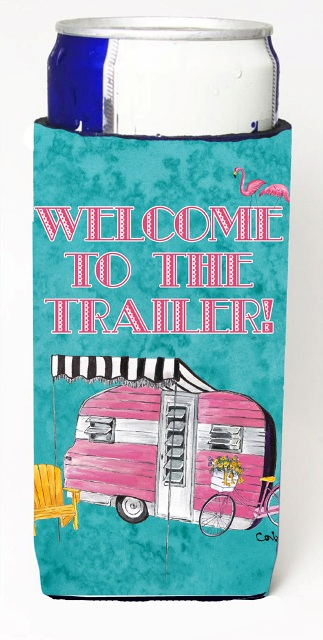 Carolines Treasures 8783MUK Welcome To The Trailer Retro Glamping Trailer Michelob Ultra bottle sleeves For Slim Cans - 12 oz.