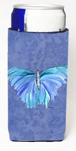 Carolines Treasures 8855MUK Butterfly On Slate Blue Michelob Ultra bottle sleeves For Slim Cans - 12 oz.