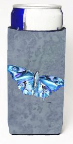 Carolines Treasures 8856MUK Butterfly On Gray Michelob Ultra bottle sleeves For Slim Cans - 12 oz.