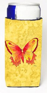 Carolines Treasures 8857MUK Butterfly On Yellow Michelob Ultra bottle sleeves For Slim Cans - 12 oz.