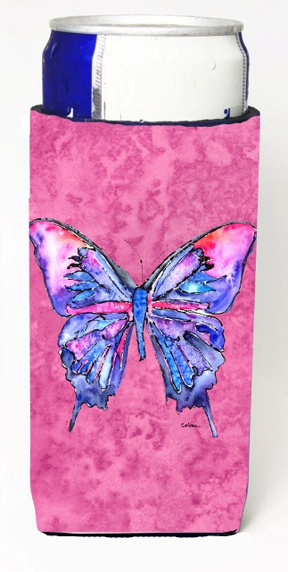 Carolines Treasures 8859MUK Butterfly On Pink Michelob Ultra bottle sleeves For Slim Cans - 12 oz.