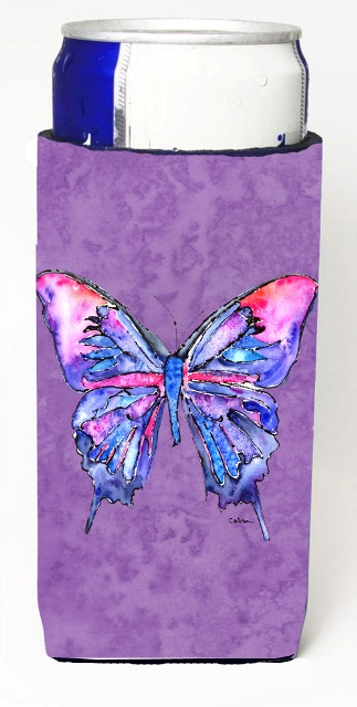 Carolines Treasures 8860MUK Butterfly On Purple Michelob Ultra bottle sleeves For Slim Cans - 12 oz.