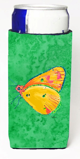 Carolines Treasures 8861MUK Butterfly Orange On Green Michelob Ultra bottle sleeves For Slim Cans - 12 oz.