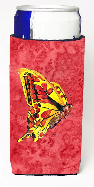 Carolines Treasures 8862MUK Butterfly On Red Michelob Ultra bottle sleeves For Slim Cans - 12 oz.