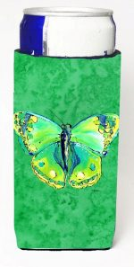 Carolines Treasures 8863MUK Butterfly Green On Green Michelob Ultra bottle sleeves For Slim Cans - 12 oz.