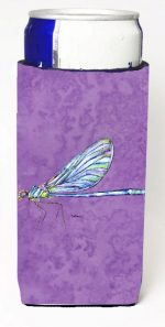 Carolines Treasures 8865MUK Dragonfly On Purple Michelob Ultra bottle sleeves For Slim Cans - 12 oz.