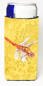 Carolines Treasures 8866MUK Dragonfly On Yellow Michelob Ultra bottle sleeves For Slim Cans - 12 oz.