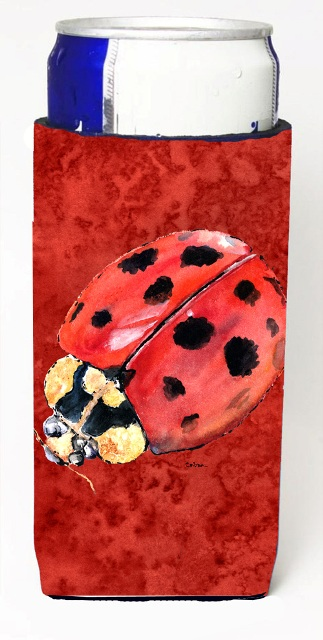 Carolines Treasures 8870MUK Lady Bug On Deep Red Michelob Ultra bottle sleeves For Slim Cans - 12 oz.