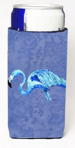 Carolines Treasures 8873MUK Flamingo On Slate Blue Michelob Ultra bottle sleeves For Slim Cans - 12 oz.