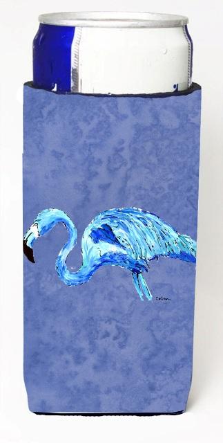 Carolines Treasures 8873MUK Flamingo On Slate Blue Michelob Ultra bottle sleeves For Slim Cans - 12 oz.