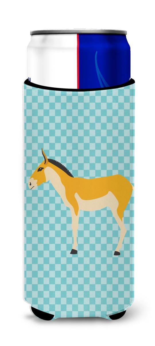 Carolines Treasures BB8028MUK Turkmenian Kulan Donkey Blue Check Michelob Ultra Hugger for Slim Cans