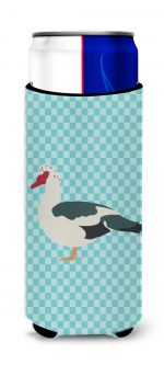 Carolines Treasures BB8038MUK Muscovy Duck Blue Check Michelob Ultra Hugger for Slim Cans