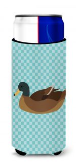 Carolines Treasures BB8040MUK Khaki Campbell Duck Blue Check Michelob Ultra Hugger for Slim Cans