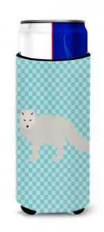 Carolines Treasures BB8051MUK White Arctic Fox Blue Check Michelob Ultra Hugger for Slim Cans