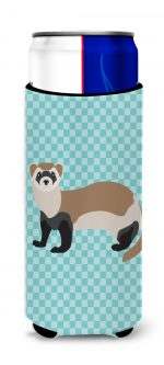 Carolines Treasures BB8052MUK Ferret Blue Check Michelob Ultra Hugger for Slim Cans