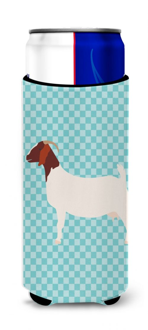 Carolines Treasures BB8060MUK Boer Goat Blue Check Michelob Ultra Hugger for Slim Cans
