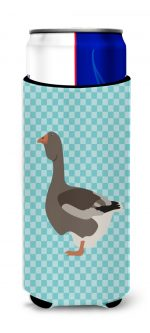 Carolines Treasures BB8071MUK Toulouse Goose Blue Check Michelob Ultra Hugger for Slim Cans