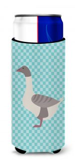 Carolines Treasures BB8075MUK Buff Grey Back Goose Blue Check Michelob Ultra Hugger for Slim Cans