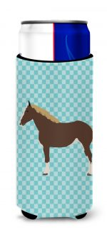 Carolines Treasures BB8080MUK Percheron Horse Blue Check Michelob Ultra Hugger for Slim Cans