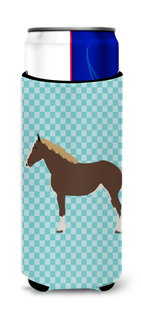 Carolines Treasures BB8080MUK Percheron Horse Blue Check Michelob Ultra Hugger for Slim Cans