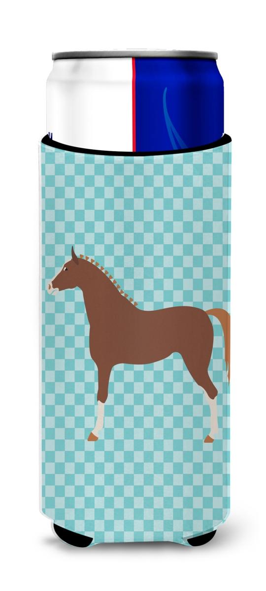 Carolines Treasures BB8083MUK Hannoverian Horse Blue Check Michelob Ultra Hugger for Slim Cans