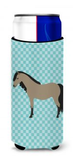 Carolines Treasures BB8084MUK Welsh Pony Horse Blue Check Michelob Ultra Hugger for Slim Cans
