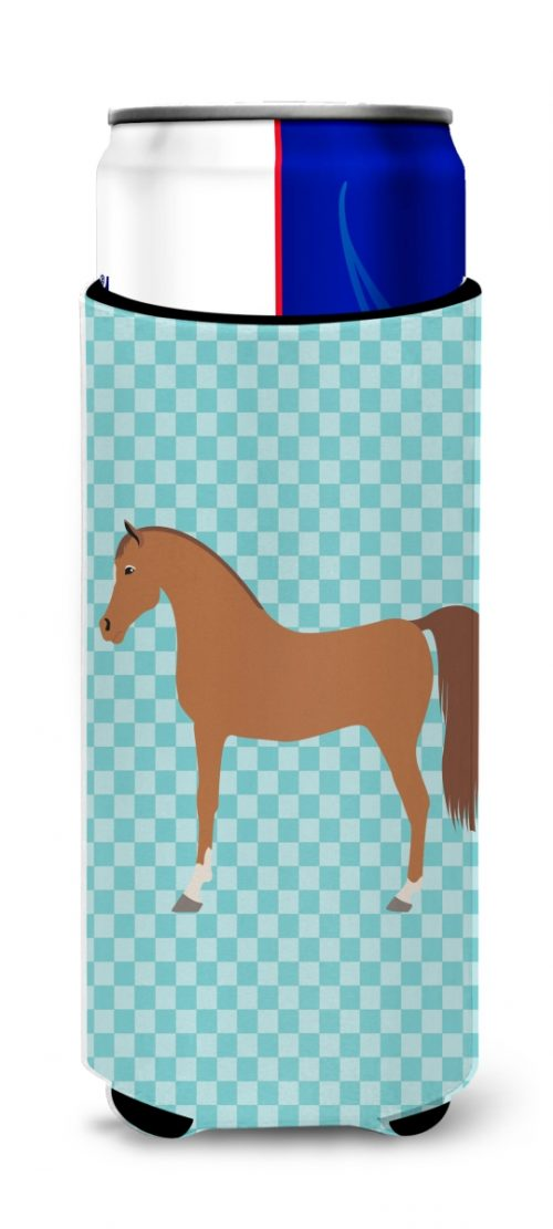 Carolines Treasures BB8085MUK Arabian Horse Blue Check Michelob Ultra Hugger for Slim Cans