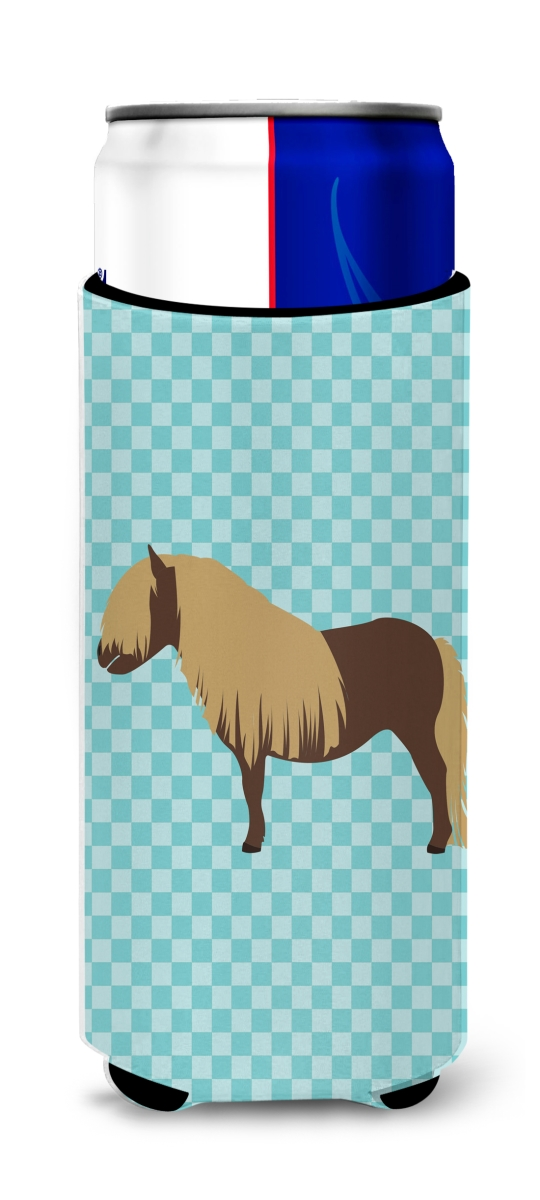 Carolines Treasures BB8088MUK Shetland Pony Horse Blue Check Michelob Ultra Hugger for Slim Cans