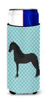 Carolines Treasures BB8089MUK Friesian Horse Blue Check Michelob Ultra Hugger for Slim Cans