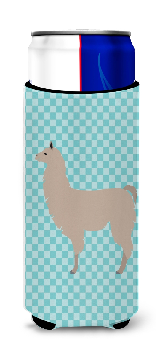 Carolines Treasures BB8090MUK Llama Blue Check Michelob Ultra Hugger for Slim Cans