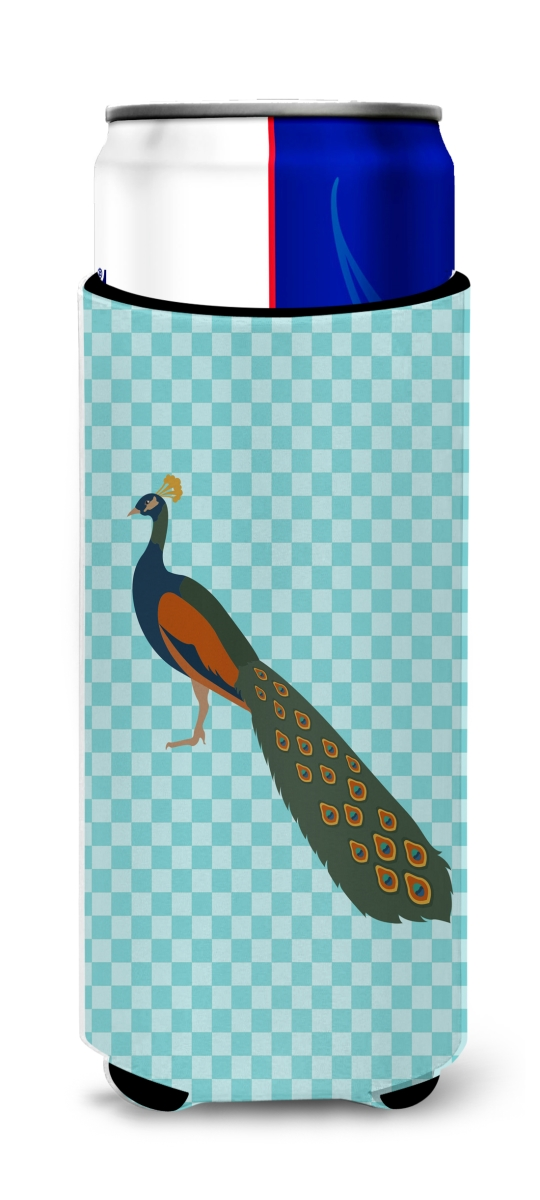 Carolines Treasures BB8099MUK Indian Peacock Peafowl Blue Check Michelob Ultra Hugger for Slim Cans