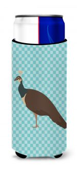 Carolines Treasures BB8101MUK Indian Peahen Peafowl Blue Check Michelob Ultra Hugger for Slim Cans