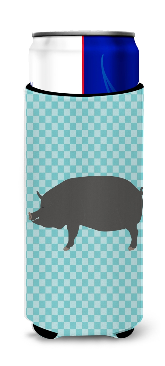 Carolines Treasures BB8107MUK Berkshire Pig Blue Check Michelob Ultra Hugger for Slim Cans
