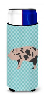 Carolines Treasures BB8109MUK Mini Miniature Pig Blue Check Michelob Ultra Hugger for Slim Cans