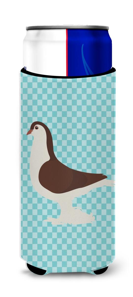 Carolines Treasures BB8117MUK Large Pigeon Blue Check Michelob Ultra Hugger for Slim Cans