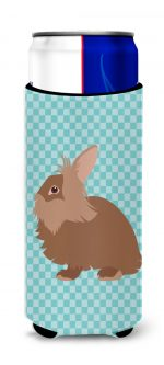 Carolines Treasures BB8134MUK Lionhead Rabbit Blue Check Michelob Ultra Hugger for Slim Cans