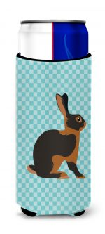 Carolines Treasures BB8137MUK Tan Rabbit Blue Check Michelob Ultra Hugger for Slim Cans