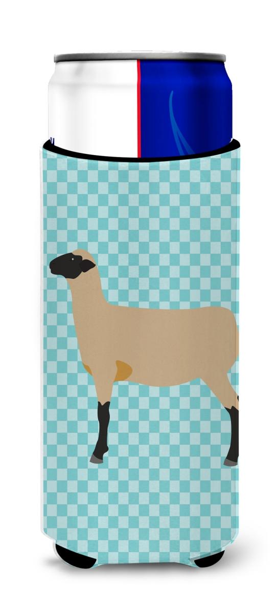 Carolines Treasures BB8150MUK Hampshire Down Sheep Blue Check Michelob Ultra Hugger for Slim Cans