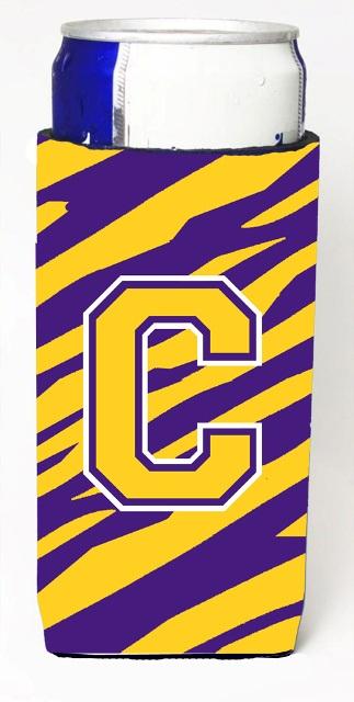 Carolines Treasures CJ1022-CMUK Tiger Stripe - Purple Gold Monogram Letter C Michelob Ultra s For Slim Cans