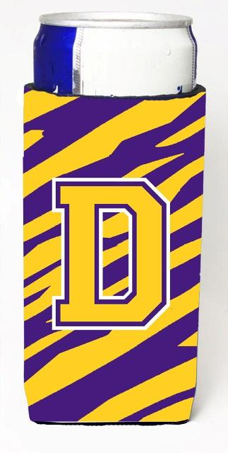 Carolines Treasures CJ1022-DMUK Tiger Stripe - Purple Gold Monogram Letter D Michelob Ultra s For Slim Cans